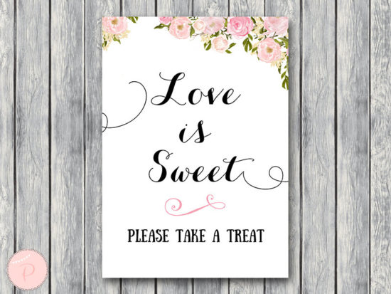 WD67-Pink Flower Love is sweet, take a treat sign, Download