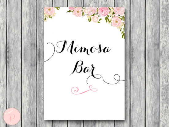 WD67-Pink Flower Mimosa Bar Sign, Bubbly Bar Sign