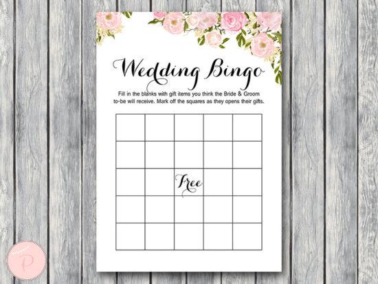 WD67-Pink Wedding Shower Bingo Cards, Printable Coed Bridal Shower Bingo