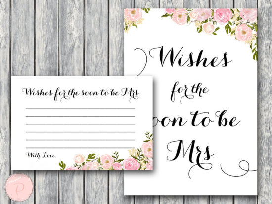 WD67-Pink Wishes for the Bride to be Card, Wishes blank