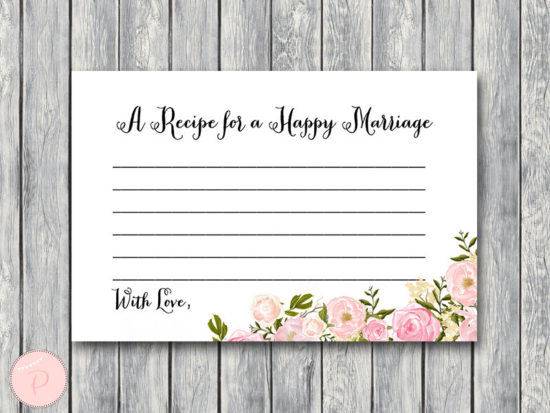 WD67-peonies-A Recipe for a Happy Marriage Printable Card