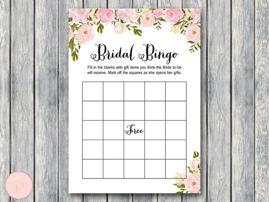 WD67-peonies-Bridal Shower Bingo Cards, Printable Bridal Bingo