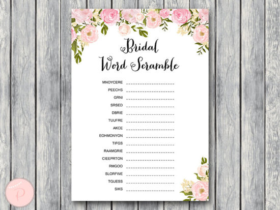 WD67-peonies-Bridal Word Scramble Bridal Shower Game