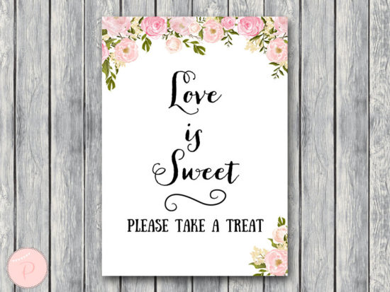 WD67-peonies-sign-Love is sweet, take a treat sign, Instant Download
