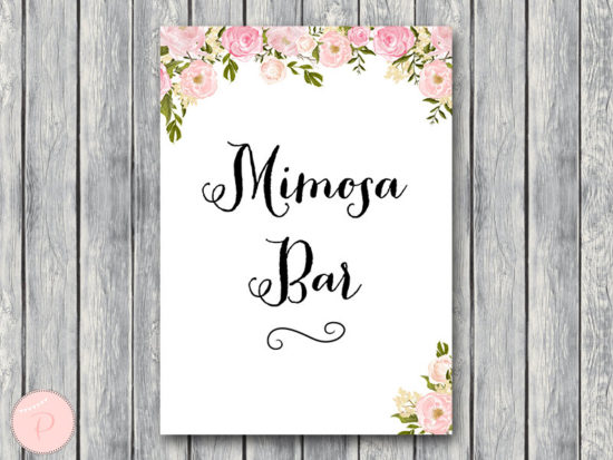 WD67-peonies-sign-Mimosa Bar Sign, Bubbly Bar Sign, Wedding
