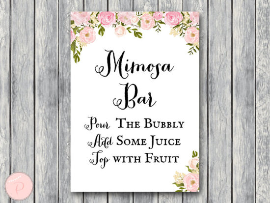 WD67-peonies-sign-Mimosa Bar Sign, Bubbly Bar Sign, Wedding Bar