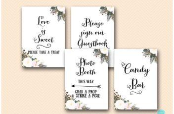 White floral bridal shower decoration sign pack