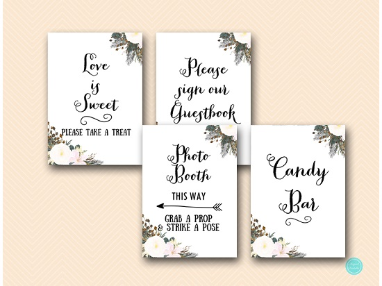 White floral bridal shower decoration sign pack