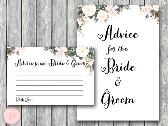 advice for the bride and groom card white flower