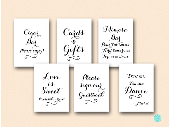 black and white background bridal shower wedding sign