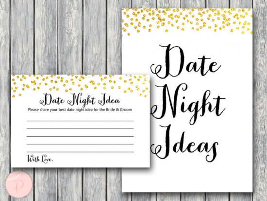 date night idea card sign -gold-bridal-shower-game-wd47