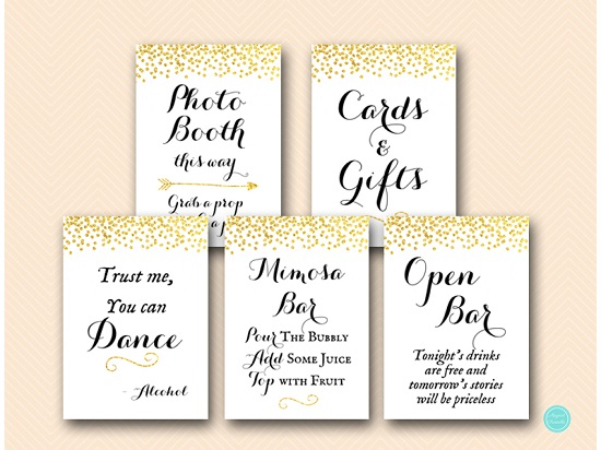 gold glitter wedding bridal shower decoration signs