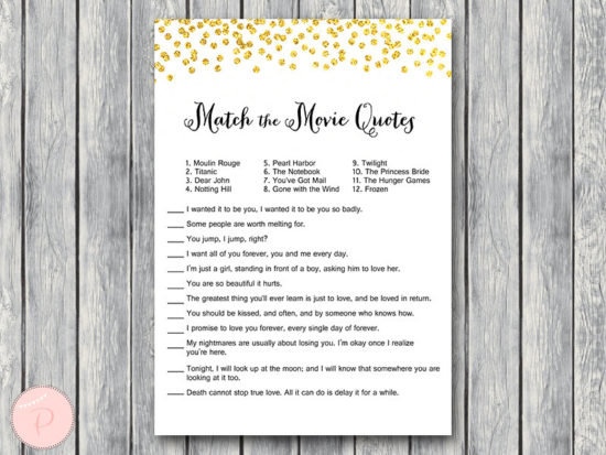 gold match the movie quote game bridal shower-wd47