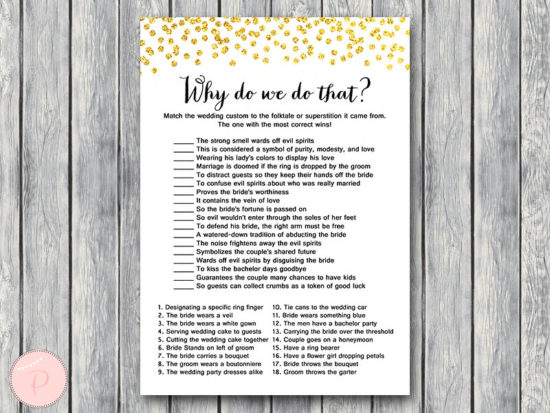 gold wedding shower game why do we do that bridal shower-wd47