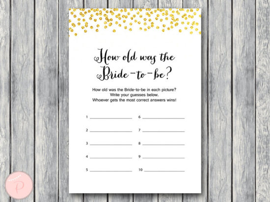 how old was bride to be-gold-bridal-shower-game-wd47