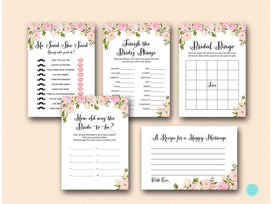 graphic about Bridal Shower Games Printable identified as Peonies Bridal Shower Online games Printable