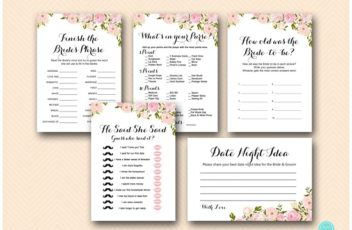 pink peonies bridal shower game printables instant download package wd67