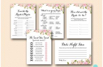 pink peonies bridal shower game printables instant download package wd67