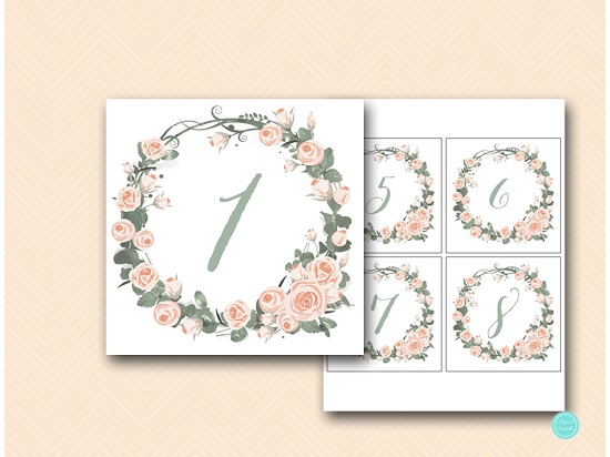 pink roses bridal showerTable Numbers Printable, DIY Table Number Sign