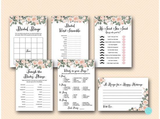 pink roses floral bridal shower game printable package th03