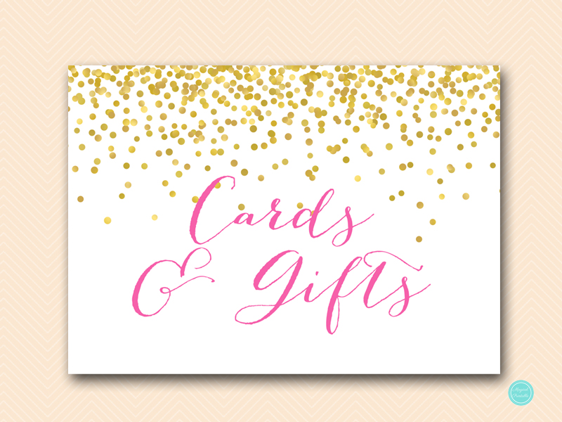sign-cards-gifts hot pink confetti bridal shower sign