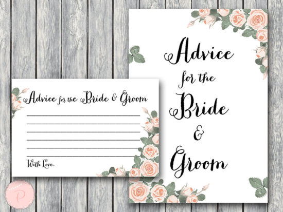 th03 Advice for the Bride and Groom Card & Sign, Printable Advice Cards