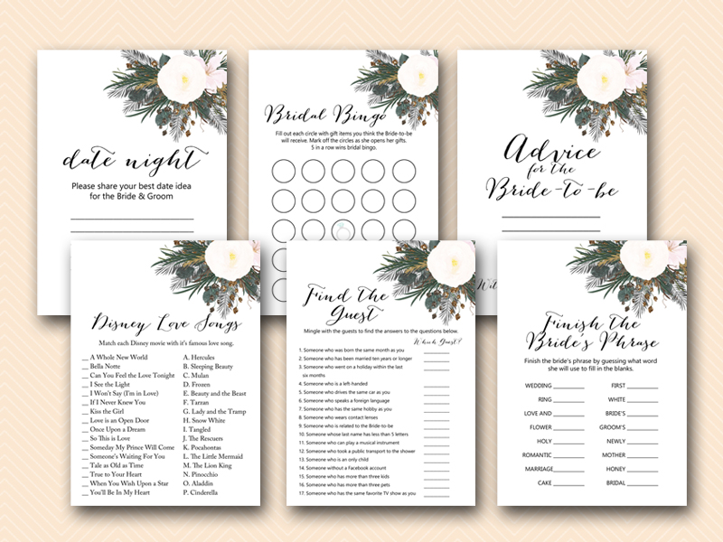 graphic relating to Bridal Shower Printable Games named White Flower Bridal Shower Video games