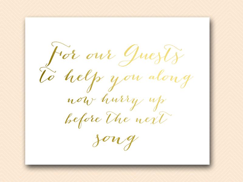 wedding bathroom-basket-sign-gold-foil