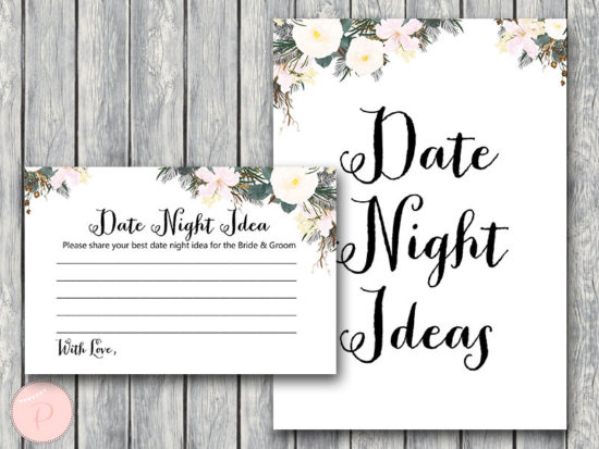 white floral date night idea cards