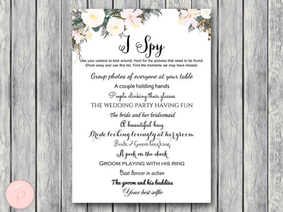 white floral i spy wedding scavenger game