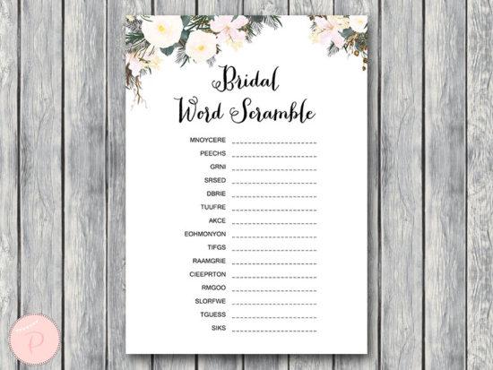 white flower bridal shower scramble game