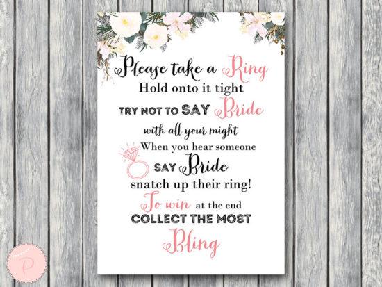 white flower dont say wedding bridal shower game