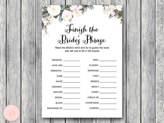 white flower finish the brides phrase game