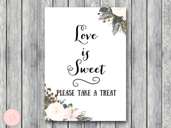 white flower love is sweet take a treat sign