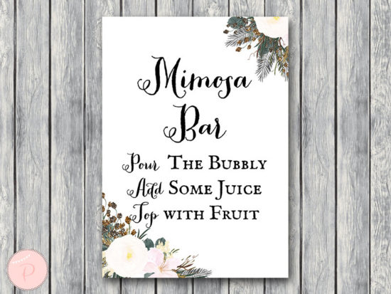 white flower mimosa bar drink sign