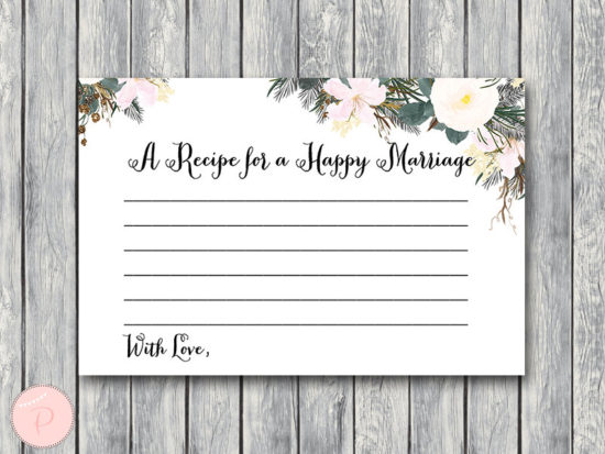 white flower recipe for a happy marriage card