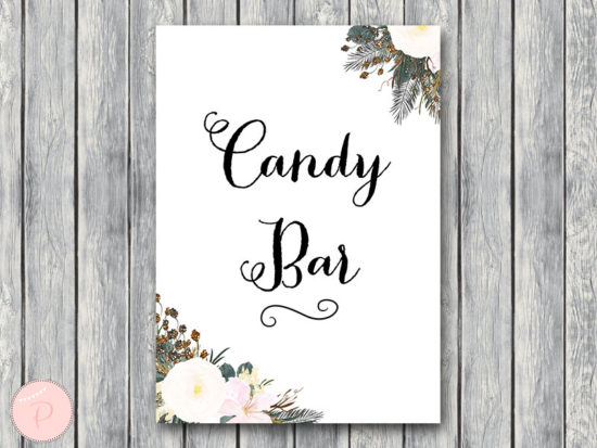 white flower wedding candy bar signage