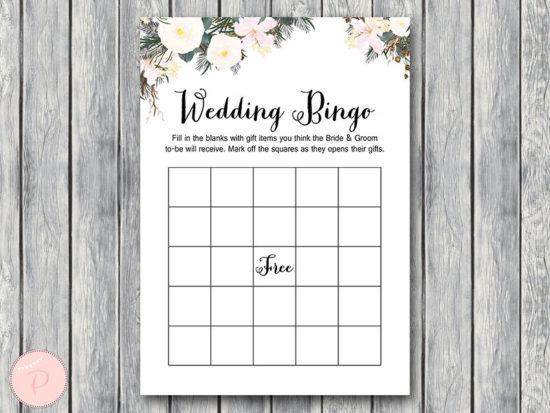 white flower wedding shower bingo gift item game