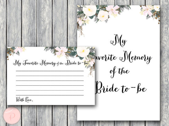 white my favorite memory of the bride memory lane game