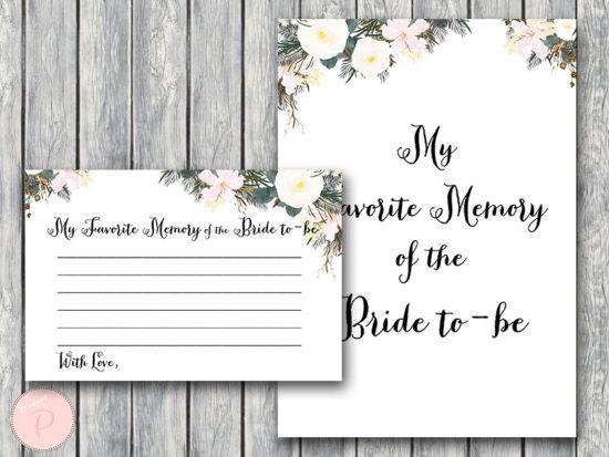white my favorite memory of the bride memory lane game