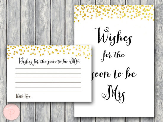 wishes for the soon to be mrs card gold bridal shower game