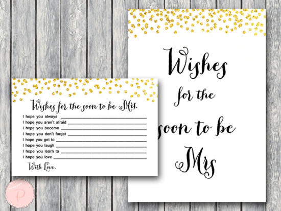 wishes for the soon to be mrs card gold bridal shower printable