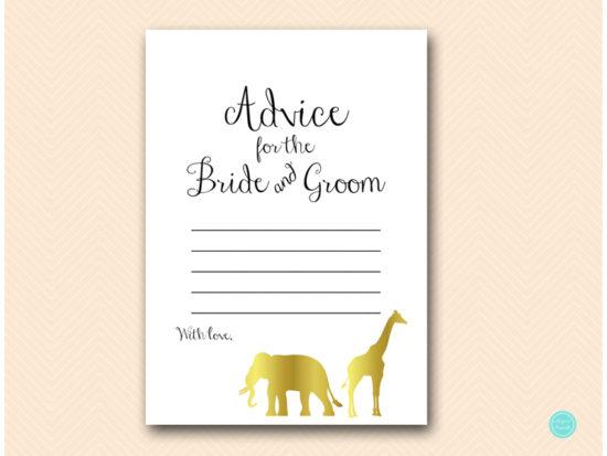 bs452-advice-for-bride-groom-card-gold-safari-jungle-animal