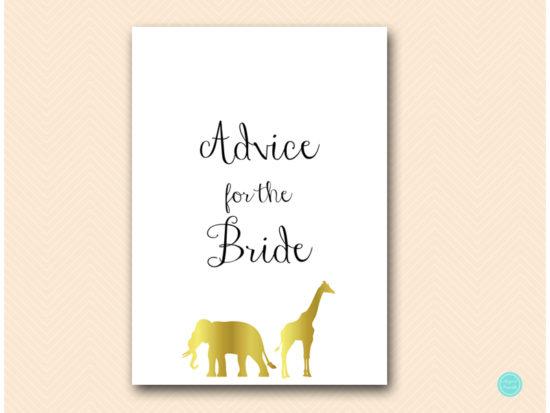 bs452-advice-for-bride-sign-gold-safari-jungle-animal