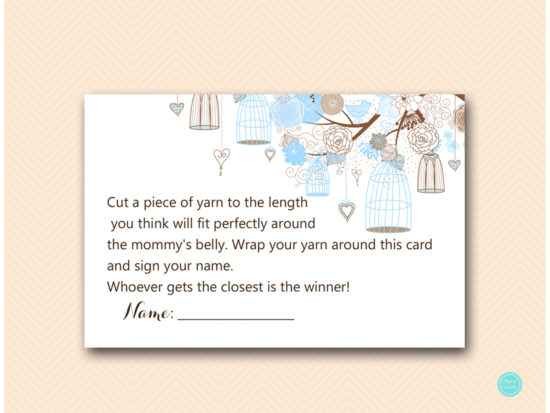tlc456-how-big-is-mommys-belly-card-tweet-bird-blue-boy-baby-shower