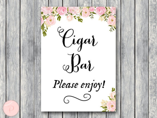 WD67-P-Cigar Bar Sign, Instant Download, Wedding Cigars Bar Sign