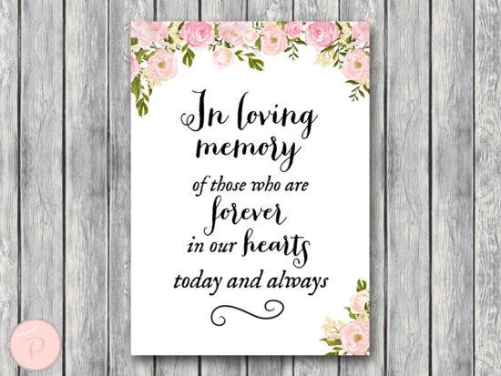 WD67-P-In Loving Memory Wedding Sign, In Loving Memory Sign