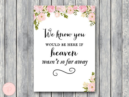 WD67-P-Remembrance Printable sign, We know you would be here if heaven