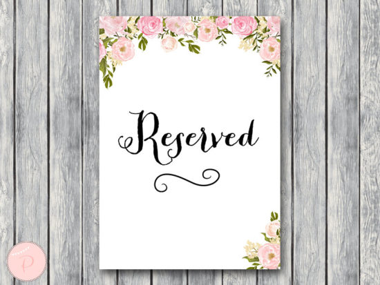 WD67-P-Reserved sign, Wedding Reserved seating sign