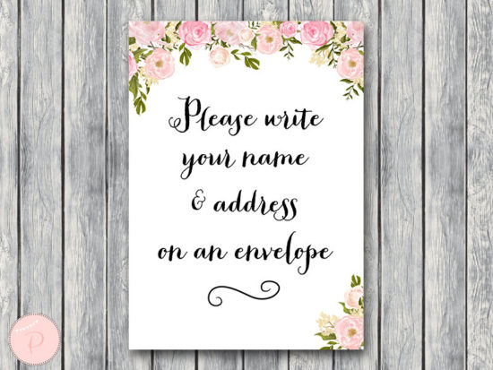 WD67-P-Wedding Thank you return address, Write your name and address